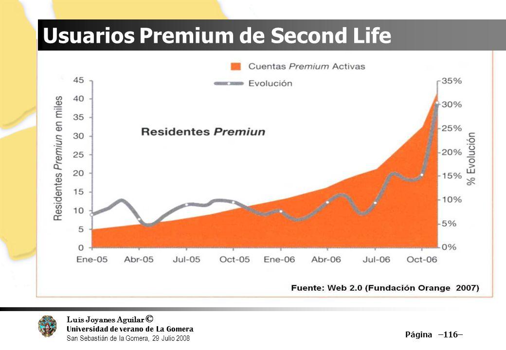 Luis Joyanes Aguilar © Universidad de verano de La Gomera San Sebastián de la Gomera, 29 Julio 2008 Página –116– Usuarios Premium de Second Life