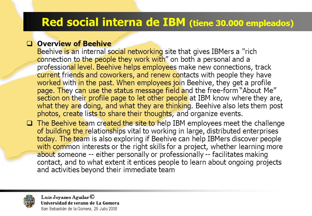 Luis Joyanes Aguilar © Universidad de verano de La Gomera San Sebastián de la Gomera, 29 Julio 2008 Red social interna de IBM (tiene 30.000 empleados) Overview of Beehive Beehive is an internal social networking site that gives IBMers a rich connection to the people they work with on both a personal and a professional level.