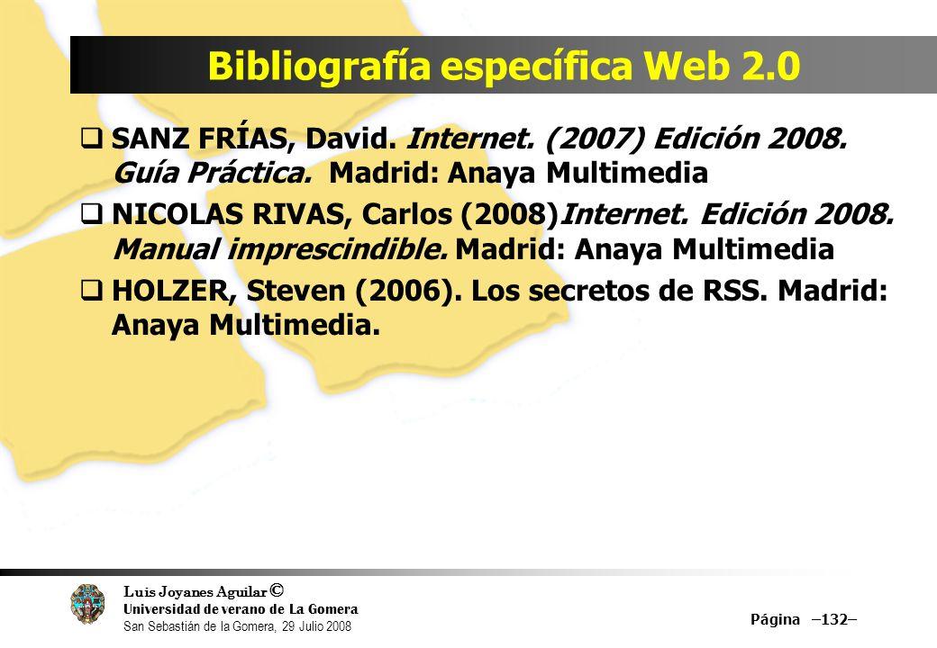 Luis Joyanes Aguilar © Universidad de verano de La Gomera San Sebastián de la Gomera, 29 Julio 2008 Bibliografía específica Web 2.0 Página –132– SANZ FRÍAS, David.