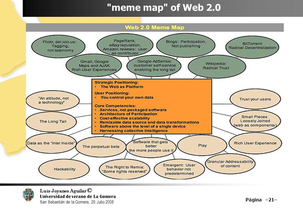 Luis Joyanes Aguilar © Universidad de verano de La Gomera San Sebastián de la Gomera, 29 Julio 2008 Página –21– meme map of Web 2.0
