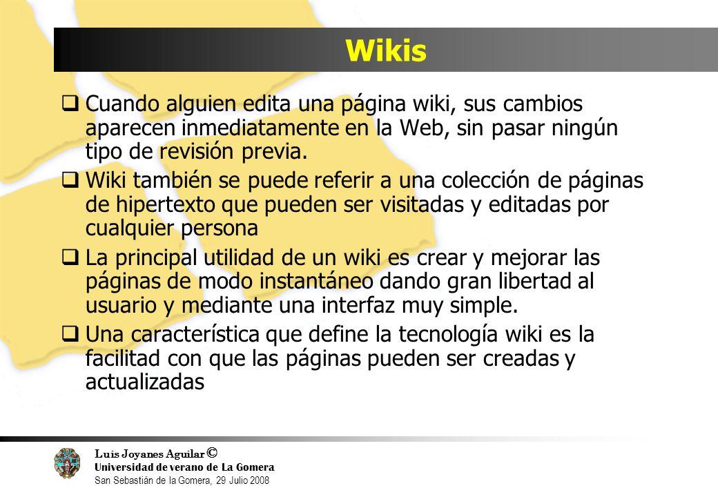 Luis Joyanes Aguilar © Universidad de verano de La Gomera San Sebastián de la Gomera, 29 Julio 2008 Wikis Cuando alguien edita una página wiki, sus cambios aparecen inmediatamente en la Web, sin pasar ningún tipo de revisión previa.