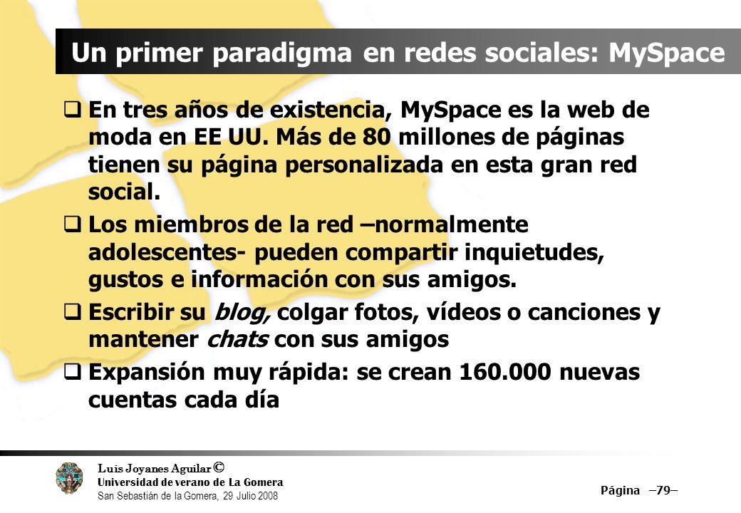 Luis Joyanes Aguilar © Universidad de verano de La Gomera San Sebastián de la Gomera, 29 Julio 2008 Página –79– Un primer paradigma en redes sociales: MySpace En tres años de existencia, MySpace es la web de moda en EE UU.