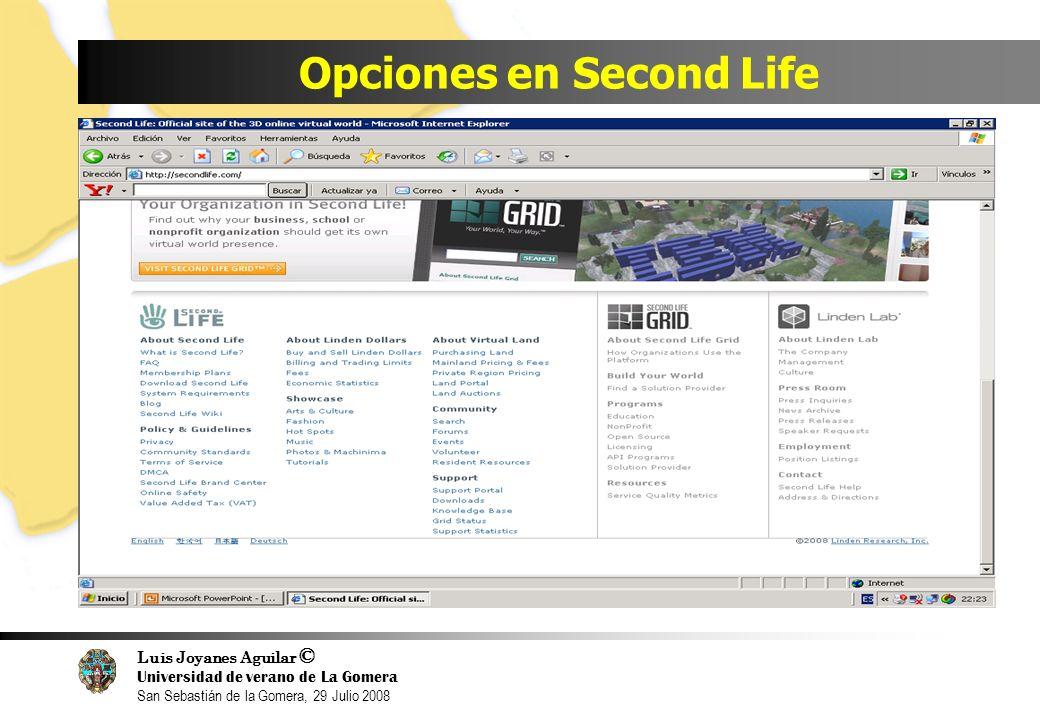 Luis Joyanes Aguilar © Universidad de verano de La Gomera San Sebastián de la Gomera, 29 Julio 2008 Opciones en Second Life