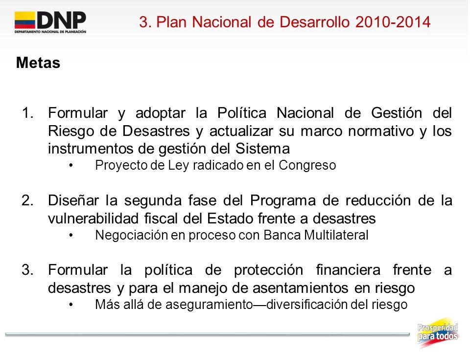 3. Plan Nacional de Desarrollo 2010-2014 Metas 1.Formular y adoptar la Política Nacional de Gestión del Riesgo de Desastres y actualizar su marco norm