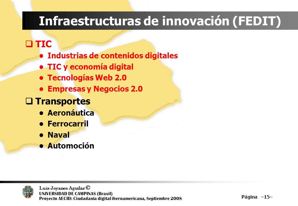 Luis Joyanes Aguilar © UNIVERSIDAD DE CAMPINAS (Brasil) Proyecto AECID: Ciudadania digital iberoamericana, Septiembre 2008 Página –15– Infraestructura