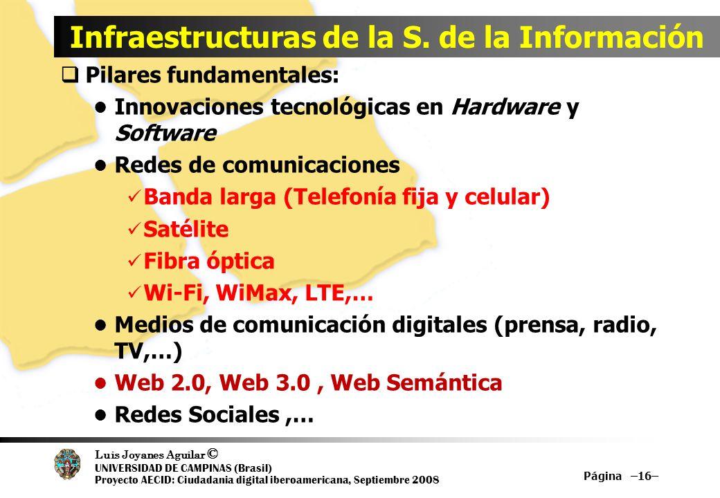 Luis Joyanes Aguilar © UNIVERSIDAD DE CAMPINAS (Brasil) Proyecto AECID: Ciudadania digital iberoamericana, Septiembre 2008 Página –16– Infraestructura