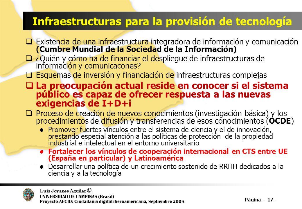 Luis Joyanes Aguilar © UNIVERSIDAD DE CAMPINAS (Brasil) Proyecto AECID: Ciudadania digital iberoamericana, Septiembre 2008 Página –17– Infraestructura