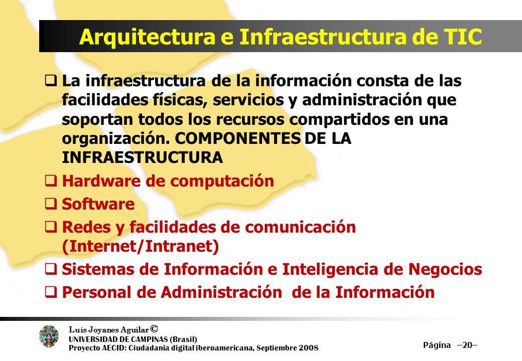 Luis Joyanes Aguilar © UNIVERSIDAD DE CAMPINAS (Brasil) Proyecto AECID: Ciudadania digital iberoamericana, Septiembre 2008 Arquitectura e Infraestruct
