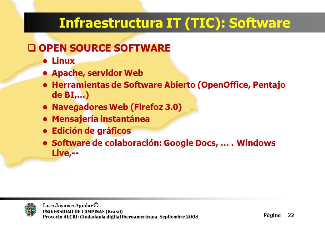 Luis Joyanes Aguilar © UNIVERSIDAD DE CAMPINAS (Brasil) Proyecto AECID: Ciudadania digital iberoamericana, Septiembre 2008 Infraestructura IT (TIC): S