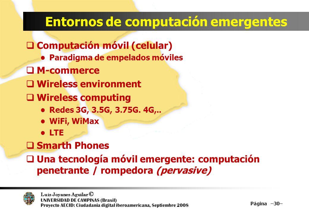 Luis Joyanes Aguilar © UNIVERSIDAD DE CAMPINAS (Brasil) Proyecto AECID: Ciudadania digital iberoamericana, Septiembre 2008 Entornos de computación eme