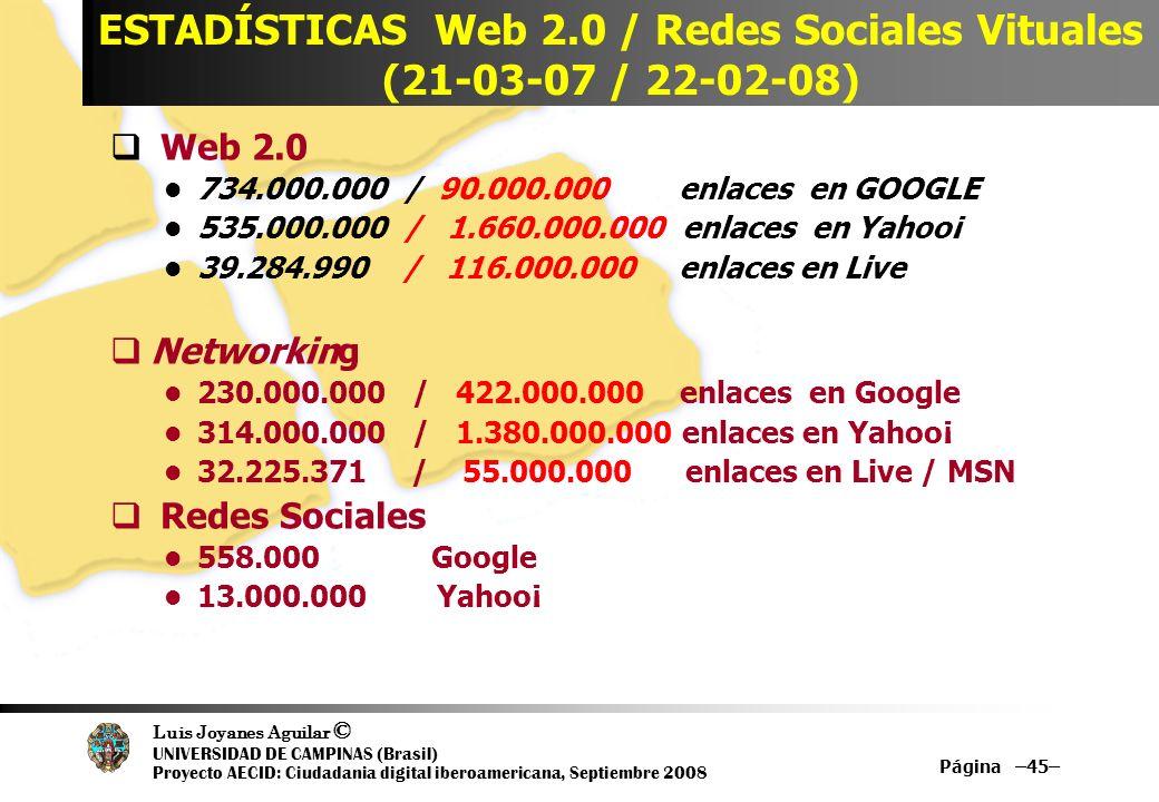 Luis Joyanes Aguilar © UNIVERSIDAD DE CAMPINAS (Brasil) Proyecto AECID: Ciudadania digital iberoamericana, Septiembre 2008 Página –45– ESTADÍSTICAS We