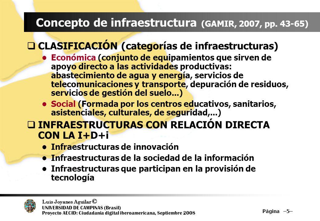 Luis Joyanes Aguilar © UNIVERSIDAD DE CAMPINAS (Brasil) Proyecto AECID: Ciudadania digital iberoamericana, Septiembre 2008 Página –16– Infraestructuras de la S.