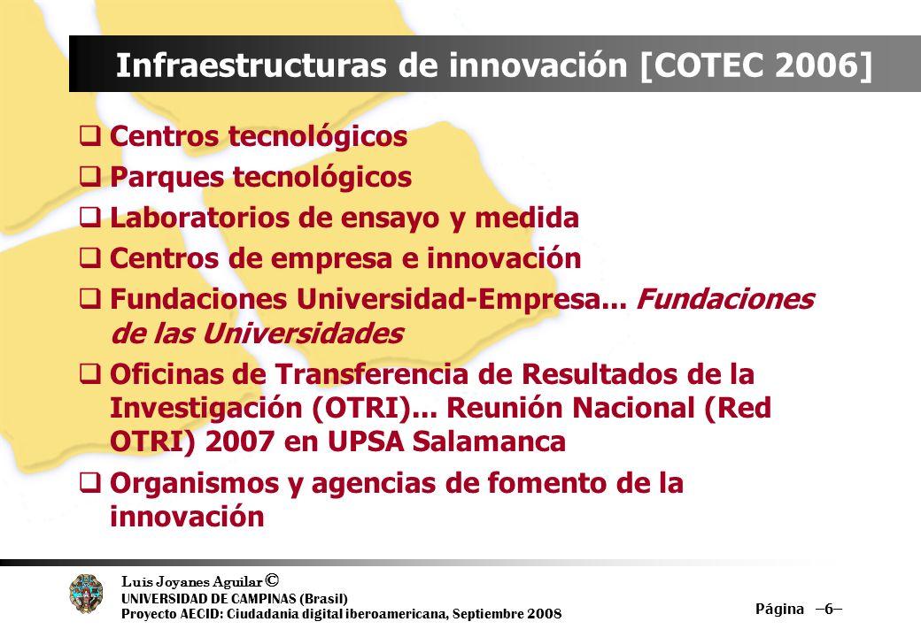 Luis Joyanes Aguilar © UNIVERSIDAD DE CAMPINAS (Brasil) Proyecto AECID: Ciudadania digital iberoamericana, Septiembre 2008 Página –6– Infraestructuras