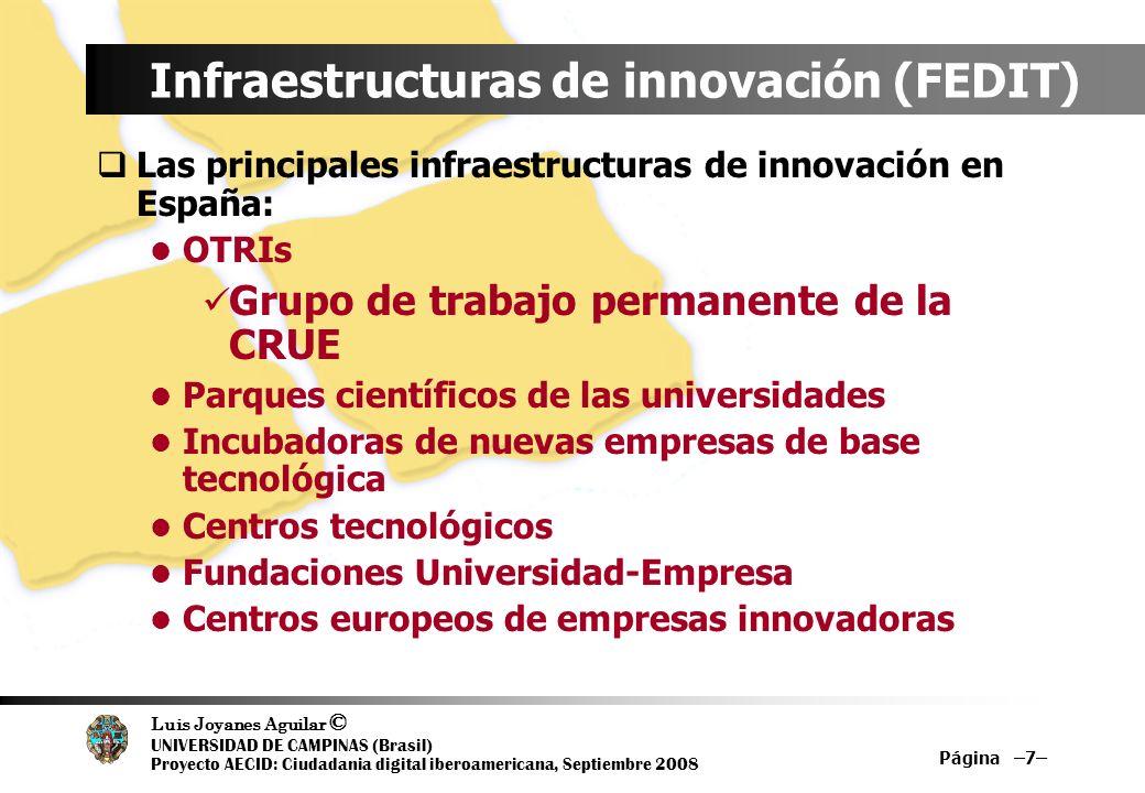 Luis Joyanes Aguilar © UNIVERSIDAD DE CAMPINAS (Brasil) Proyecto AECID: Ciudadania digital iberoamericana, Septiembre 2008 Página –7– Infraestructuras