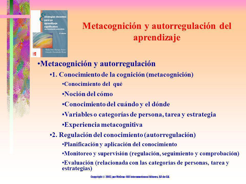 Copyright © 2002, por McGraw-Hill Interamericana Editores, S.A de C.V. Metacognición y autorregulación del aprendizaje Metacognición y autorregulación
