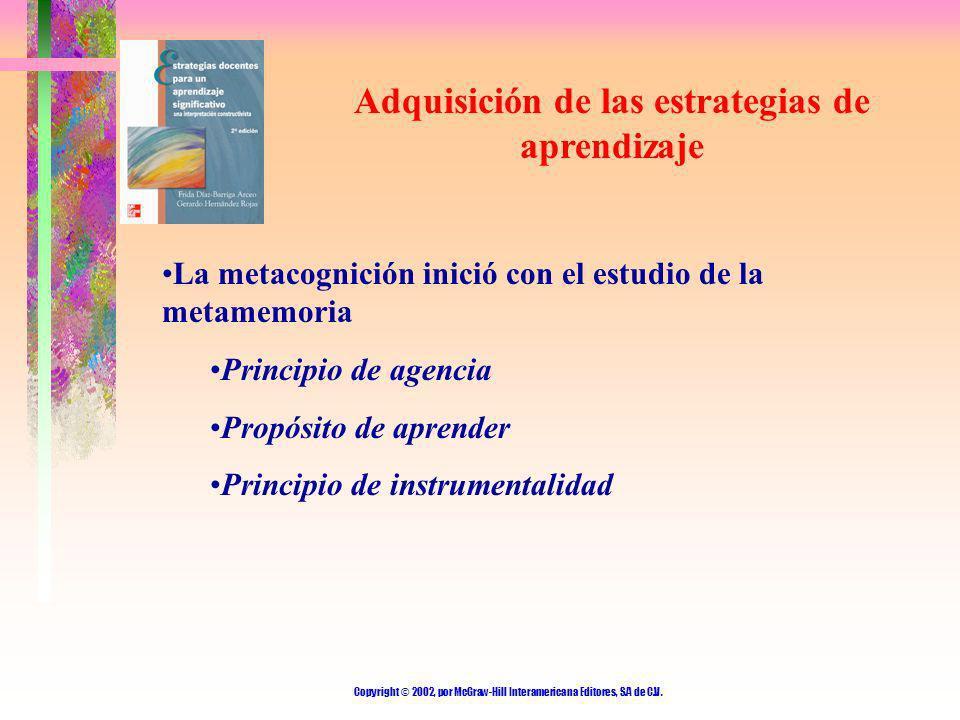 Copyright © 2002, por McGraw-Hill Interamericana Editores, S.A de C.V. Adquisición de las estrategias de aprendizaje La metacognición inició con el es