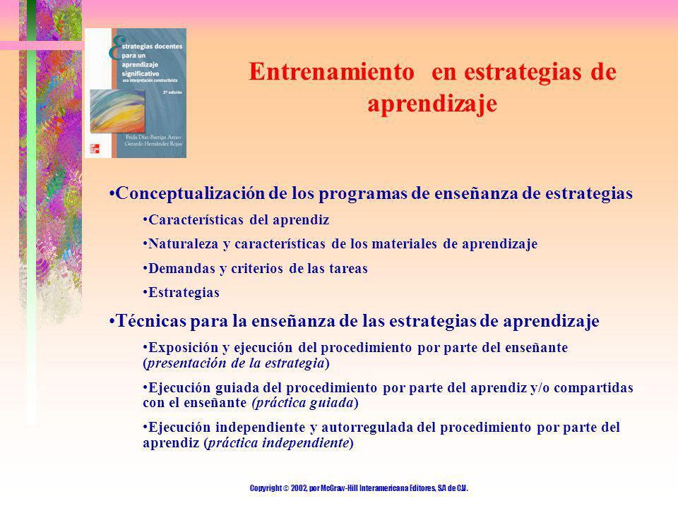 Copyright © 2002, por McGraw-Hill Interamericana Editores, S.A de C.V. Entrenamiento en estrategias de aprendizaje Conceptualización de los programas