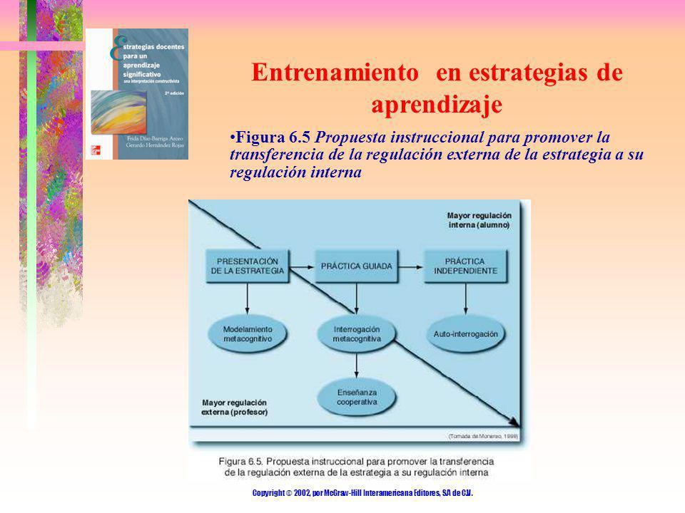 Copyright © 2002, por McGraw-Hill Interamericana Editores, S.A de C.V. Entrenamiento en estrategias de aprendizaje Figura 6.5 Propuesta instruccional