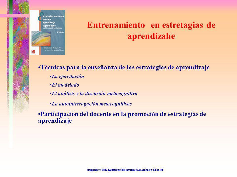 Copyright © 2002, por McGraw-Hill Interamericana Editores, S.A de C.V. Entrenamiento en estretagias de aprendizahe Técnicas para la enseñanza de las e