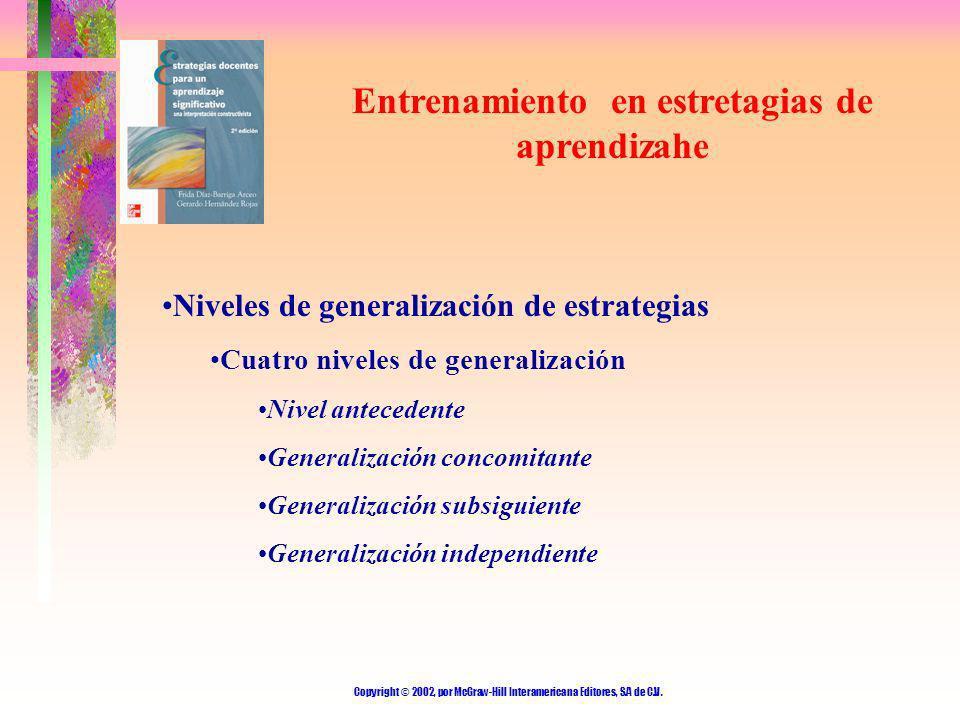 Copyright © 2002, por McGraw-Hill Interamericana Editores, S.A de C.V. Entrenamiento en estretagias de aprendizahe Niveles de generalización de estrat