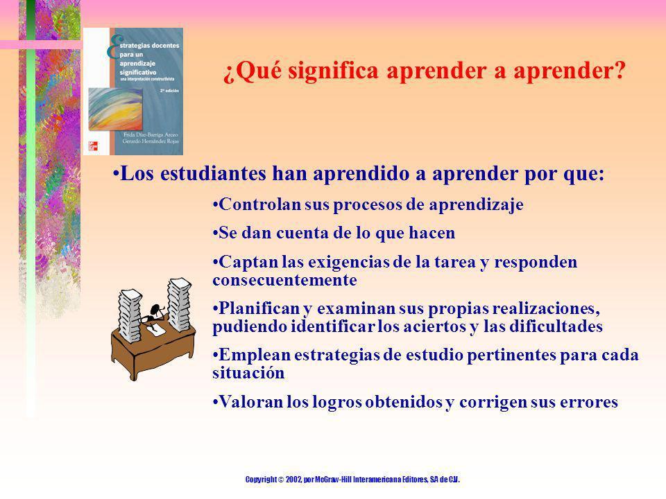 Copyright © 2002, por McGraw-Hill Interamericana Editores, S.A de C.V. ¿Qué significa aprender a aprender? Los estudiantes han aprendido a aprender po