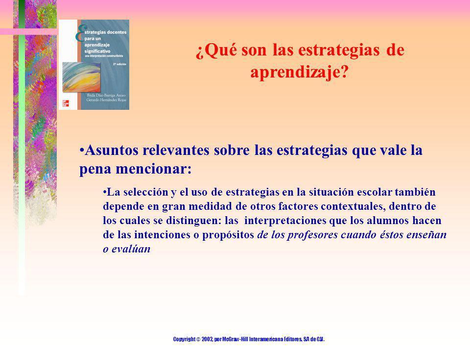 Copyright © 2002, por McGraw-Hill Interamericana Editores, S.A de C.V. ¿Qué son las estrategias de aprendizaje? Asuntos relevantes sobre las estrategi