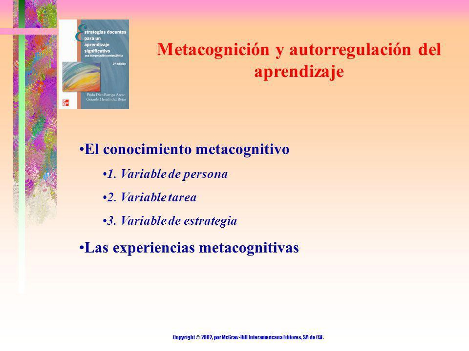 Copyright © 2002, por McGraw-Hill Interamericana Editores, S.A de C.V. Metacognición y autorregulación del aprendizaje El conocimiento metacognitivo 1