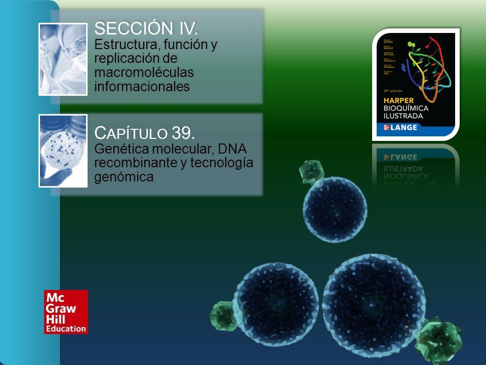 SECCIÓN IV. Estructura, función y replicación de macromoléculas informacionales C APÍTULO 39. Genética molecular, DNA recombinante y tecnología genómi