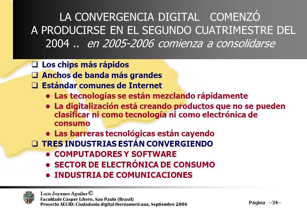 Luis Joyanes Aguilar © Faculdade Cásper Líbero, Sao Paulo (Brasil) Proyecto AECID: Ciudadania digital iberoamericana, Septiembre 2008 Página –34– LA C