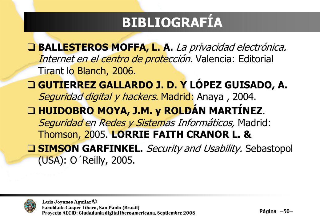 Luis Joyanes Aguilar © Faculdade Cásper Líbero, Sao Paulo (Brasil) Proyecto AECID: Ciudadania digital iberoamericana, Septiembre 2008 Página –50– BIBL
