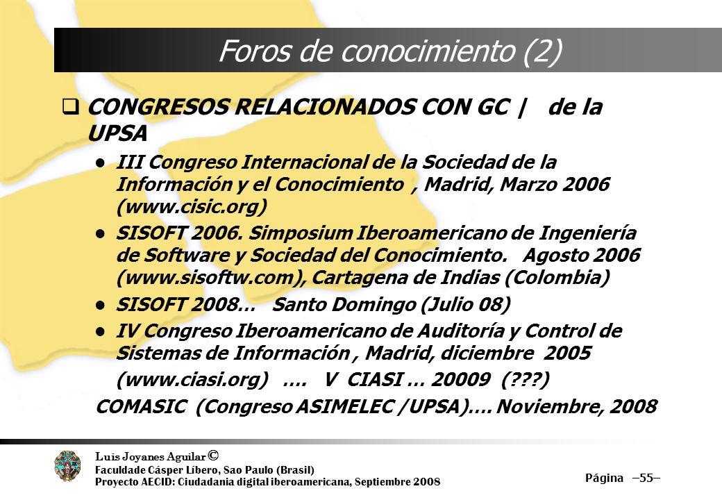 Luis Joyanes Aguilar © Faculdade Cásper Líbero, Sao Paulo (Brasil) Proyecto AECID: Ciudadania digital iberoamericana, Septiembre 2008 Página –55– Foro