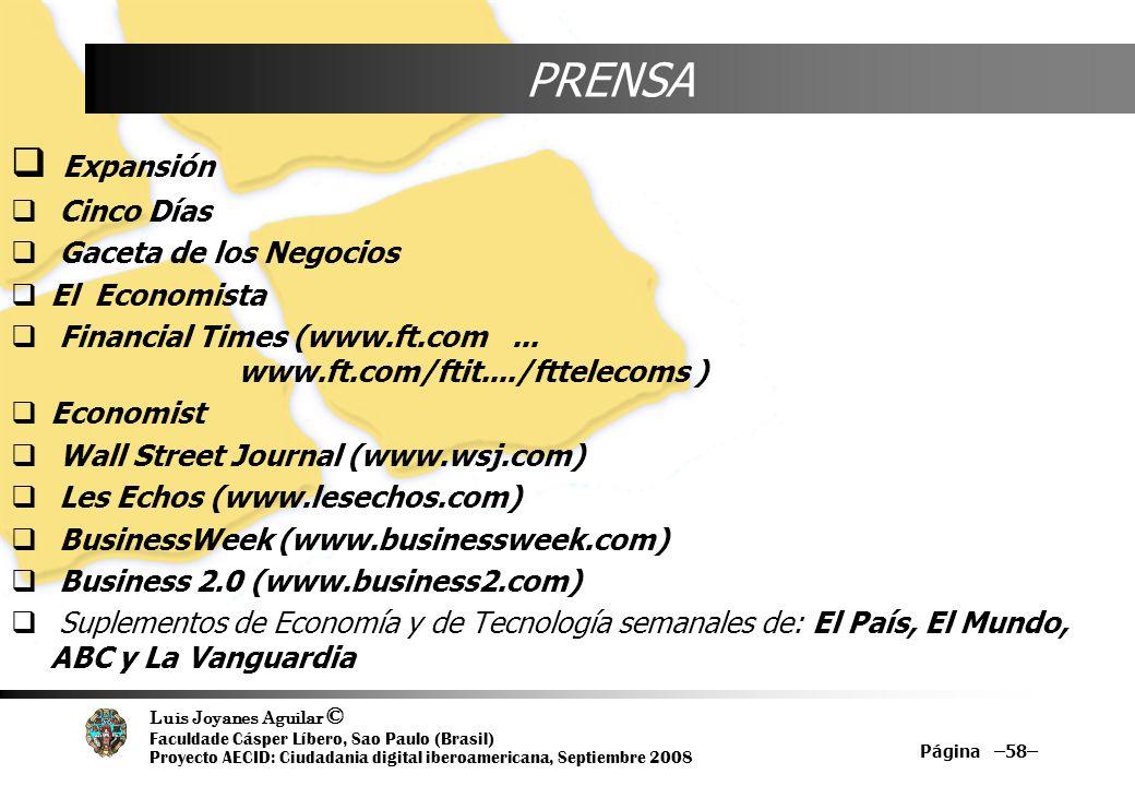 Luis Joyanes Aguilar © Faculdade Cásper Líbero, Sao Paulo (Brasil) Proyecto AECID: Ciudadania digital iberoamericana, Septiembre 2008 Página –58– PREN