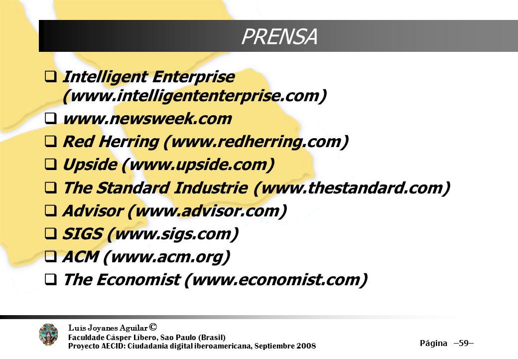 Luis Joyanes Aguilar © Faculdade Cásper Líbero, Sao Paulo (Brasil) Proyecto AECID: Ciudadania digital iberoamericana, Septiembre 2008 Página –59– PREN