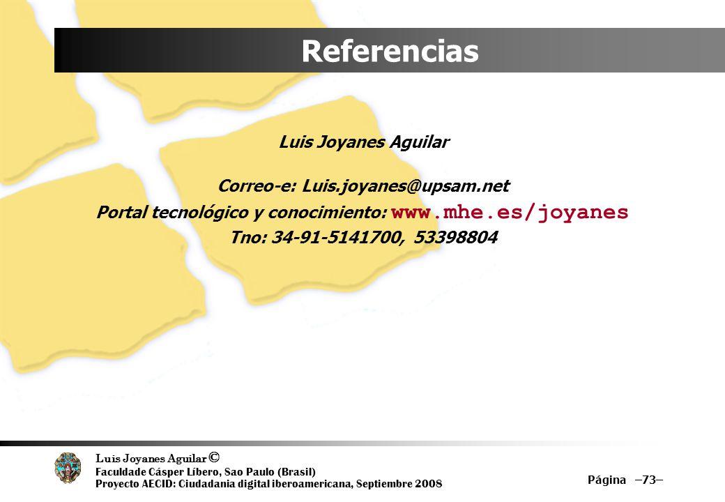 Luis Joyanes Aguilar © Faculdade Cásper Líbero, Sao Paulo (Brasil) Proyecto AECID: Ciudadania digital iberoamericana, Septiembre 2008 Página –73– Refe