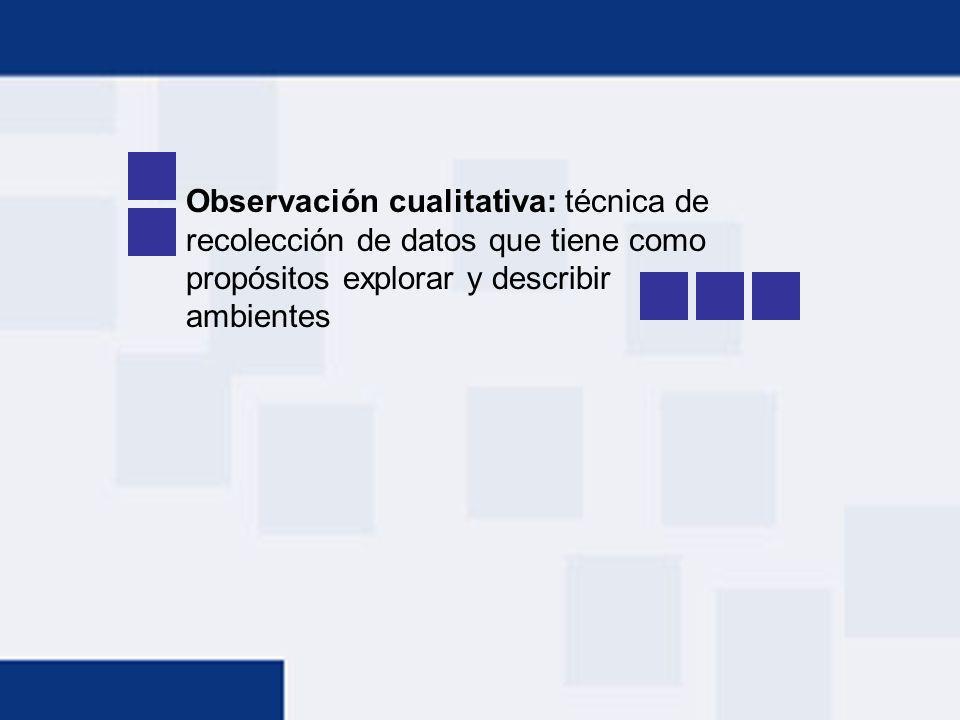 Observación cualitativa: técnica de recolección de datos que tiene como propósitos explorar y describir ambientes