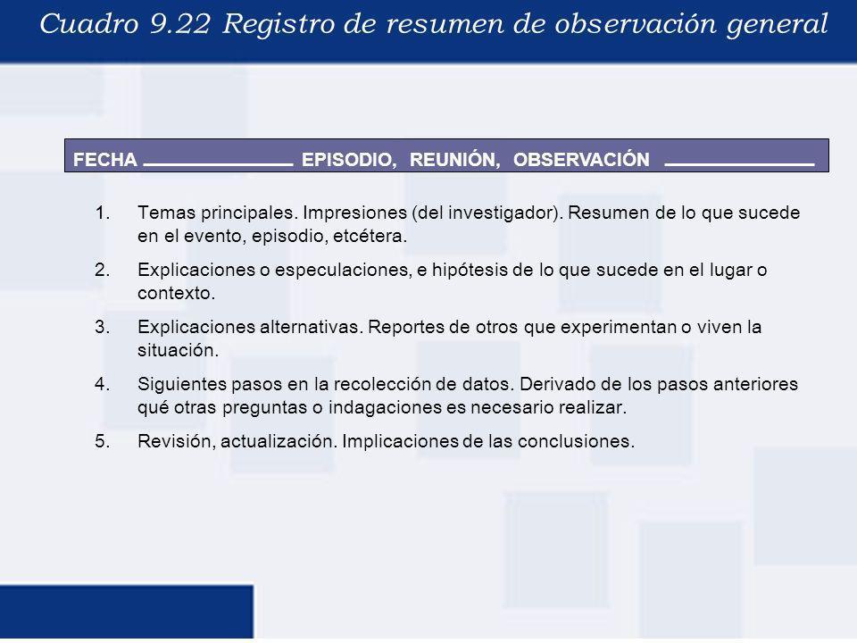 FECHA Cuadro 9.22 Registro de resumen de observación general EPISODIO, REUNIÓN, OBSERVACIÓN 1.Temas principales. Impresiones (del investigador). Resum