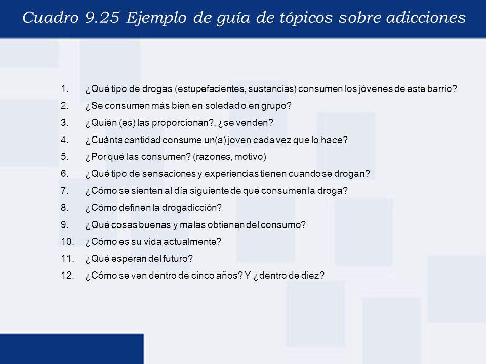 Cuadro 9.25 Ejemplo de guía de tópicos sobre adicciones 1.¿Qué tipo de drogas (estupefacientes, sustancias) consumen los jóvenes de este barrio? 2.¿Se