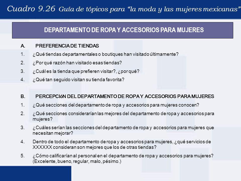 Cuadro 9.26 Guía de tópicos para la moda y las mujeres mexicanas A. PREFERENCIA DE TIENDAS 1.¿Qué tiendas departamentales o boutiques han visitado últ