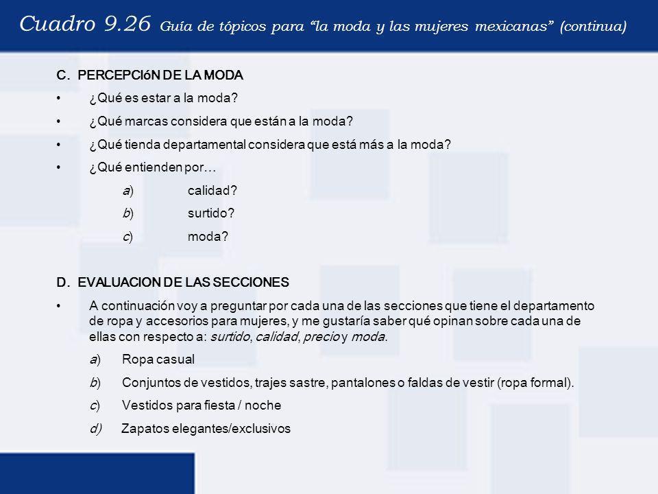 Cuadro 9.26 Guía de tópicos para la moda y las mujeres mexicanas (continua) C. PERCEPCIóN DE LA MODA ¿Qué es estar a la moda? ¿Qué marcas considera qu