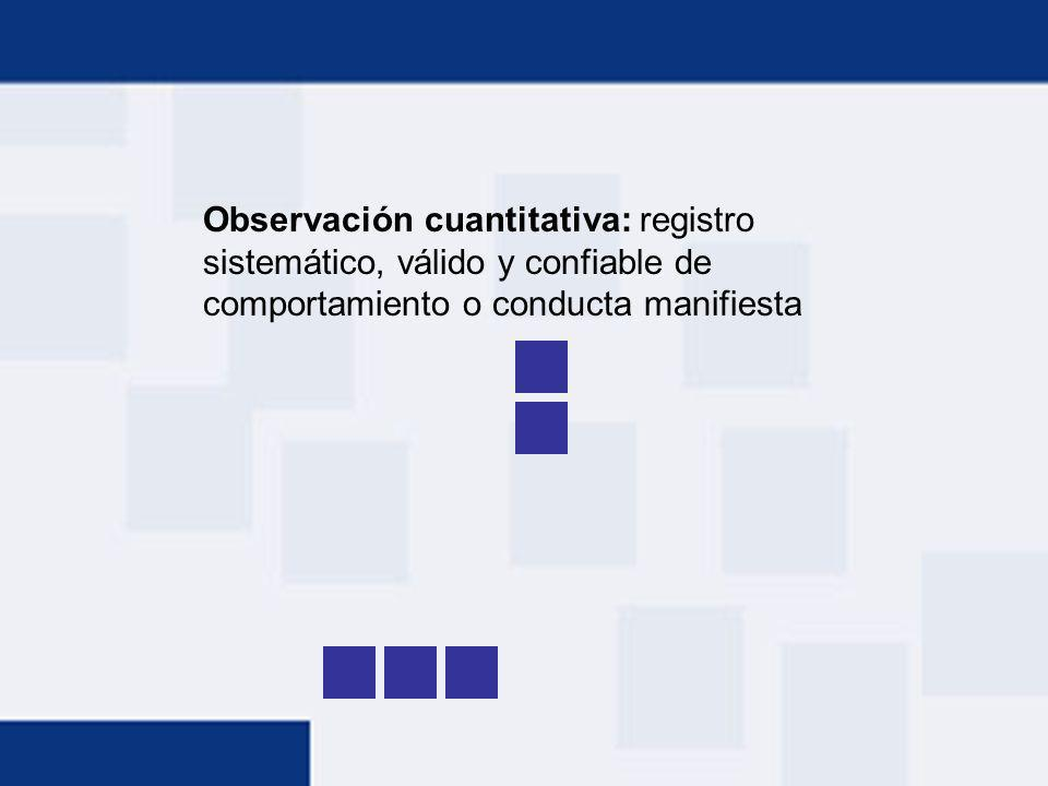 Observación cuantitativa: registro sistemático, válido y confiable de comportamiento o conducta manifiesta
