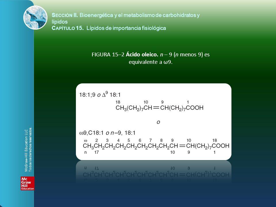 FIGURA 15–2 Ácido oleico. n – 9 (n menos 9) es equivalente a ω9. S ECCIÓN II. Bioenergética y el metabolismo de carbohidratos y lípidos C APÍTULO 15.