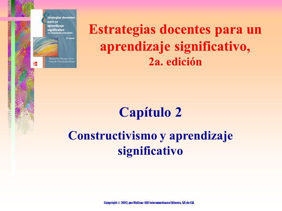 Copyright © 2002, por McGraw-Hill Interamericana Editores, S.A de C.V. Estrategias docentes para un aprendizaje significativo, 2a. edición Capítulo 2