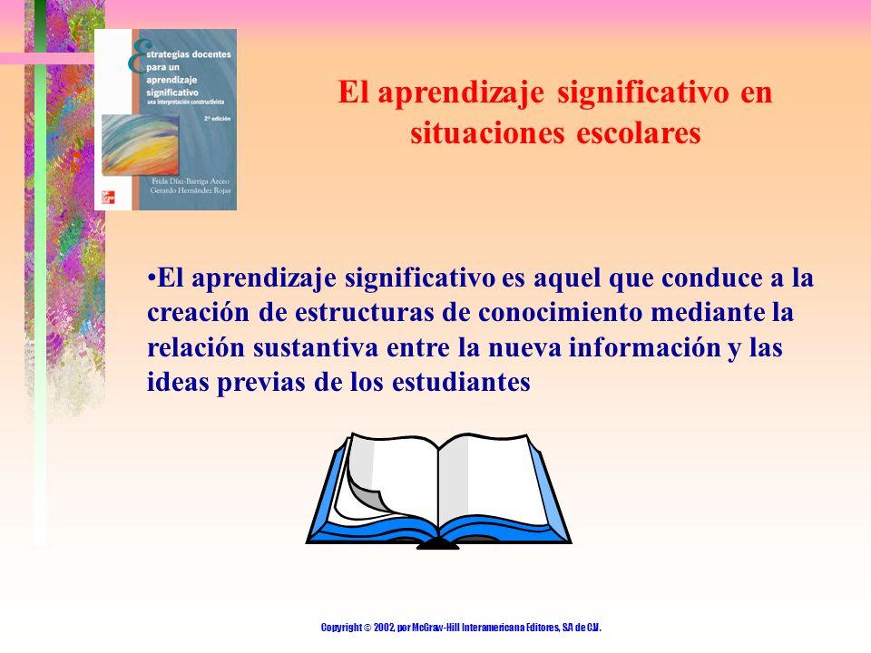Copyright © 2002, por McGraw-Hill Interamericana Editores, S.A de C.V. El aprendizaje significativo en situaciones escolares El aprendizaje significat