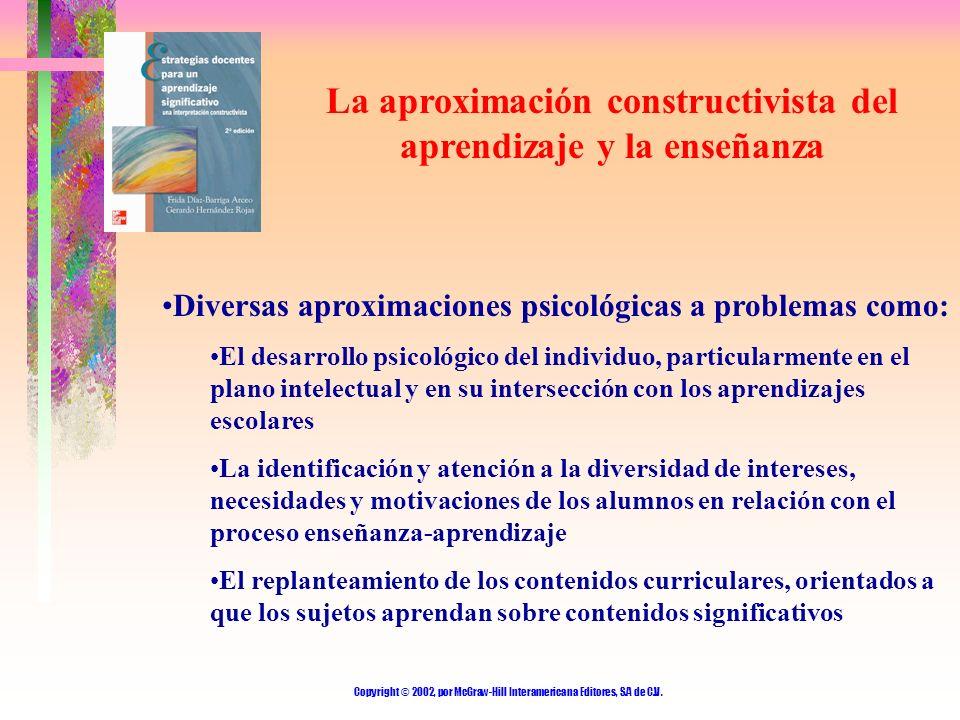 Copyright © 2002, por McGraw-Hill Interamericana Editores, S.A de C.V. La aproximación constructivista del aprendizaje y la enseñanza Diversas aproxim