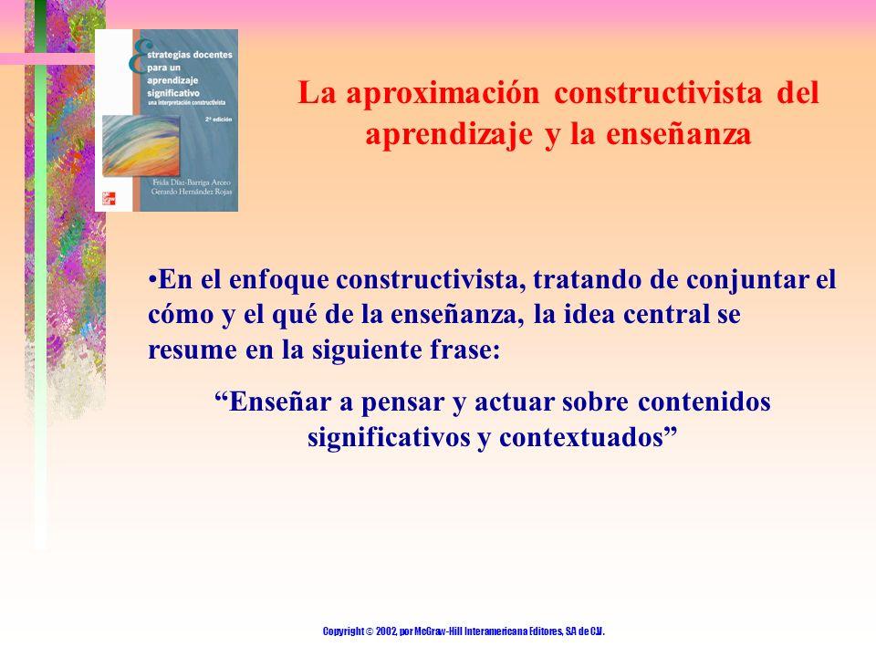 Copyright © 2002, por McGraw-Hill Interamericana Editores, S.A de C.V. La aproximación constructivista del aprendizaje y la enseñanza En el enfoque co