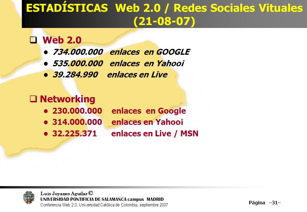 Luis Joyanes Aguilar © UNIVERSIDAD PONTIFICIA DE SALAMANCA campus MADRID Conferencia Web 2.0, Universidad Católica de Colombia, septiembre 2007 Página –31– ESTADÍSTICAS Web 2.0 / Redes Sociales Vituales (21-08-07) Web 2.0 734.000.000 enlaces en GOOGLE 535.000.000 enlaces en Yahoo¡ 39.284.990 enlaces en Live Networking 230.000.000 enlaces en Google 314.000.000 enlaces en Yahoo¡ 32.225.371 enlaces en Live / MSN