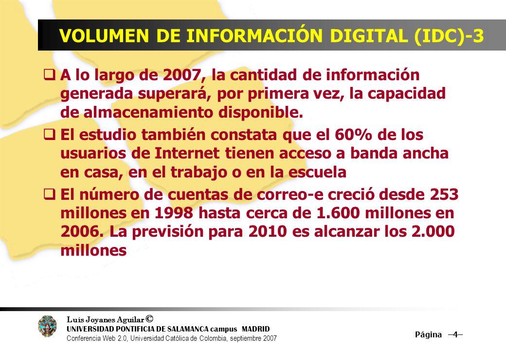Luis Joyanes Aguilar © UNIVERSIDAD PONTIFICIA DE SALAMANCA campus MADRID Conferencia Web 2.0, Universidad Católica de Colombia, septiembre 2007 Página –125– LA ACELERACIÓN DE LA TECNOLOGÍA Y SU RECHAZO.