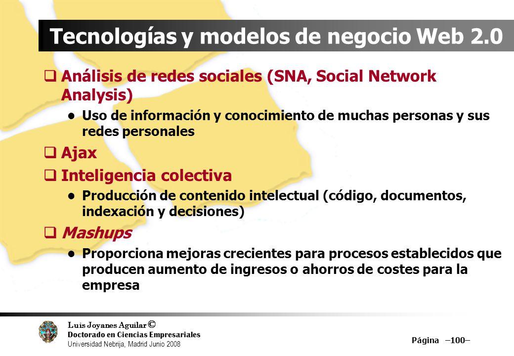 Luis Joyanes Aguilar © Doctorado en Ciencias Empresariales Universidad Nebrija, Madrid Junio 2008 Página –100– Tecnologías y modelos de negocio Web 2.