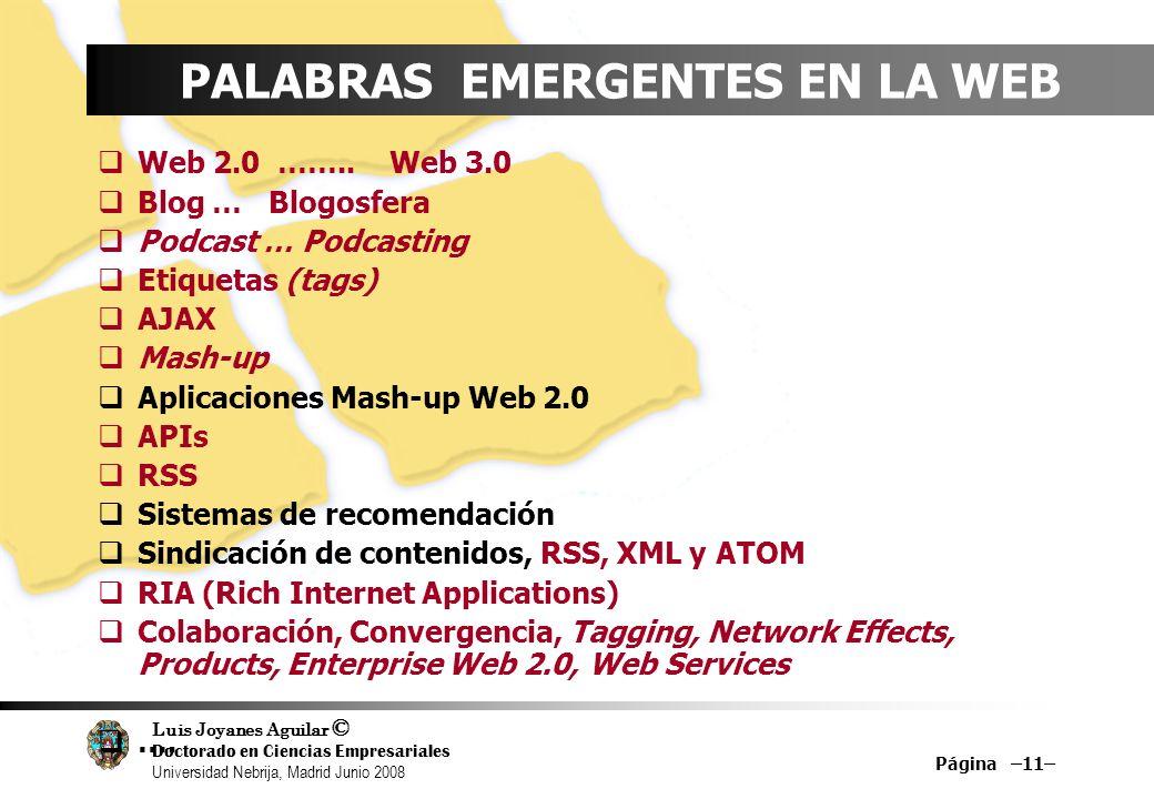 Luis Joyanes Aguilar © Doctorado en Ciencias Empresariales Universidad Nebrija, Madrid Junio 2008 Página –11– PALABRAS EMERGENTES EN LA WEB Web 2.0 ……
