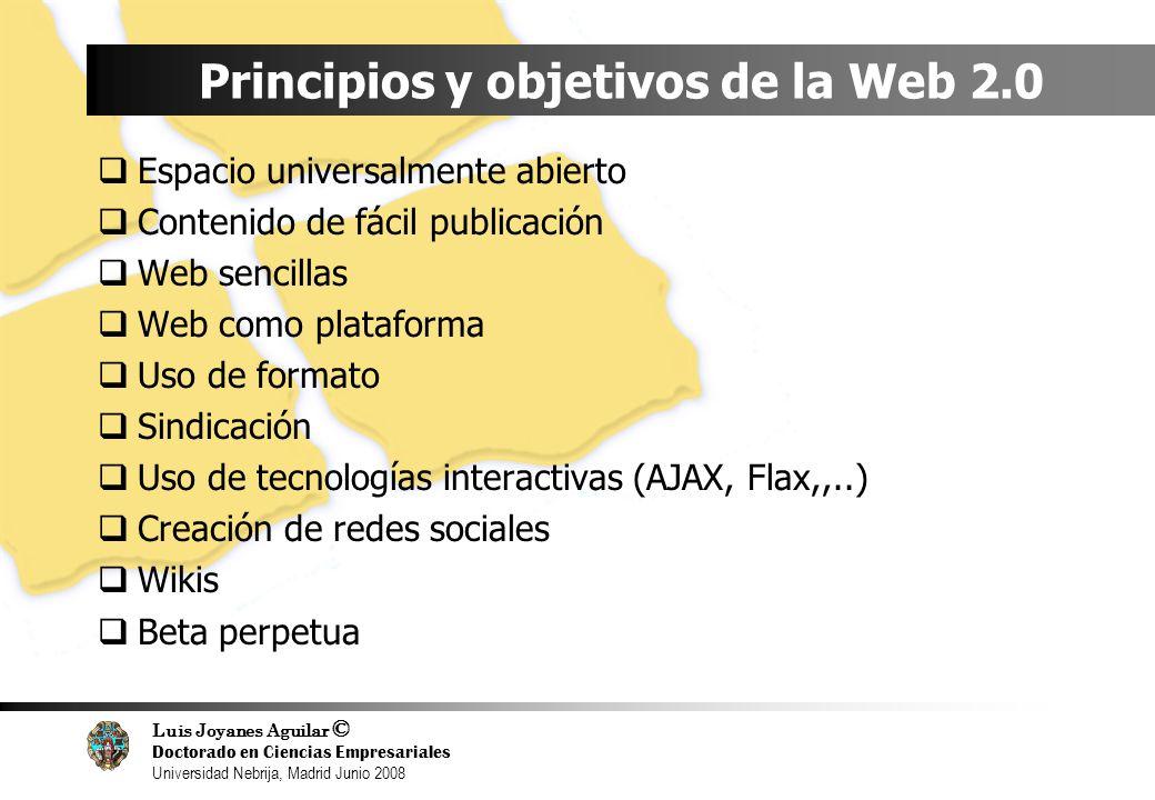 Luis Joyanes Aguilar © Doctorado en Ciencias Empresariales Universidad Nebrija, Madrid Junio 2008 Principios y objetivos de la Web 2.0 Espacio univers